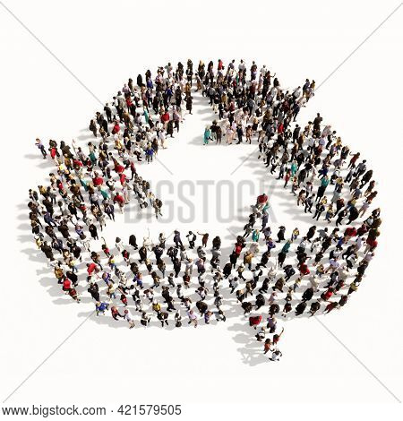 Concept conceptual large community of people forming therecycle sign. 3d illustration metaphor for recycling, waste reduction, conservation and protection of the environment
