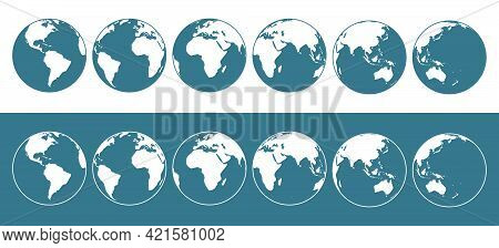 Set Of Vector Flat Illustrations Of The Earth Globe From Different Sides.