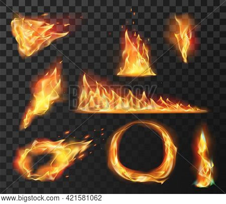 Realistic Fire Flame Elements. Burning Effects Of Fireball, Circle, Torch And Wildfire. Flare Blazin