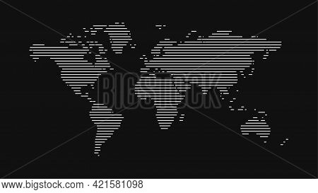 Vector Illustration Of A World Map Made From Lines On A Black Background. Geographic Banner Or Templ