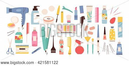 Beauty Salon Tools. Hairdresser, Manicure And Makeup Equipment. Hair Dryer, Scissors, Comb And Cream