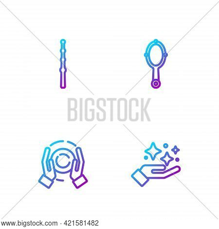 Set Line Sparkle Stars With Magic Trick, Magic Ball On Hand, Wand And Mirror. Gradient Color Icons.