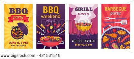 Barbecue Posters. Bbq Party Invitations For Summer Outdoor Picnic In Park Or Back Yard With Food On