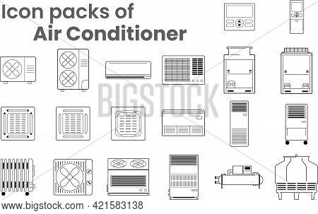 Vector Icon Packs Of Air Conditioners Various Type As Symbol-block-line-outline. Various Objects Of