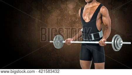 Composition of muscular man exercising with weight bar over dark blur. sport, fitness and active lifestyle concept digitally generated image.