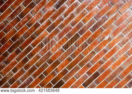 Empty Brown Brick Wall Background With Texture And Retro Style For Home Or Building Decoration On Vi