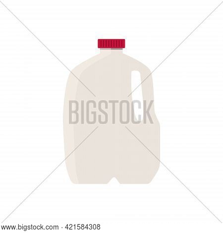 Flat Vector Illustration Of Milk In Plastic Gallon Jug With Red Cap. Isolated On White Background