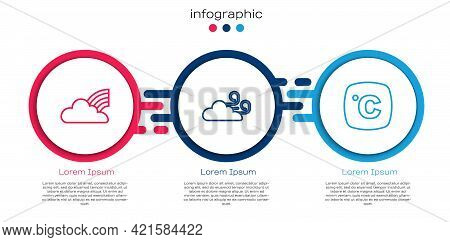 Set Line Rainbow With Clouds, Windy Weather And Celsius. Business Infographic Template. Vector