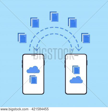 Smartphones File Transfer. Data Transmission, Ftp Files Receiver And Phone Backup Copy. Document Sha