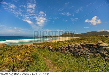 Beach View From Mount Louro In Galicia, Spain.