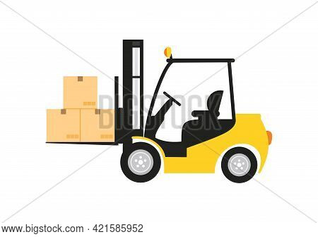 Forklift. Yellow Forklift Icon Isolated On White Background From Shipping Logistics Collection. Tren