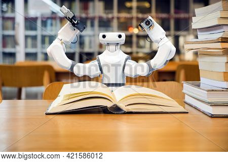 Smart Ai Robot Are Reading Textbooks In The Library, To Study Knowledge In Working With Or Replacing