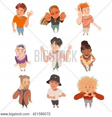 Smiling People Characters Looking Up Pointing Finger And Watching Something Above View Vector Illust