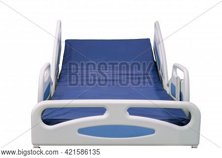 Modern Patient Bed Can Be Used Both In Hospital, Clinic And Home, Isolated On White Background