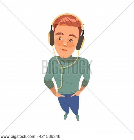 Smiling Freckled Man In Headphones Listening To Music And Looking Up Watching At Something Above Vie