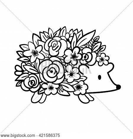 Cute Hedgehog With Flowers. Hedgehog With Leaves Instead Of Needles. Vector Illustration.