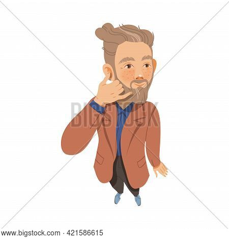 Bearded Freckled Man Looking Up Watching At Something Showing Call Sign Above View Vector Illustrati