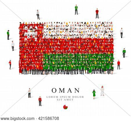 A Large Group Of People Are Standing In Green, White And Red Robes, Symbolizing The Flag Of Oman. Ve