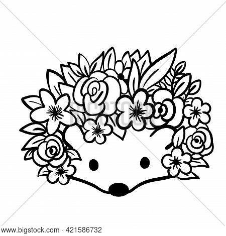Cute Hedgehog With Flowers. Hedgehog Face With Leaves Instead Of Needles. Vector Illustration.