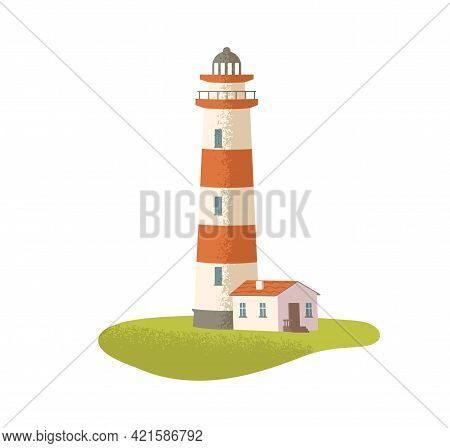 Coastal Lighthouse. Nautical Light House. Maritime Navigation Beacon. Seaside Security Tower. Sea Po