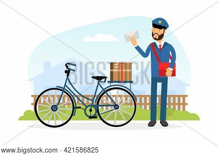 Mail Carrier Or Mailman As Employee Of Postal Service Delivering Mail And Parcels To Residence Vecto