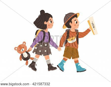Childrens Adventure Concept. Cute Kids Walking, Hiking, Exploring And Discovering World Together. Cu