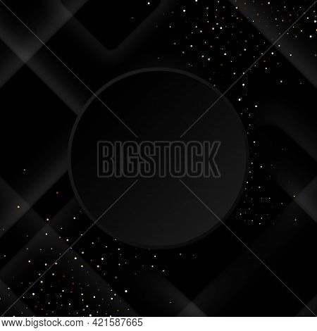 Black Background With Luxurious Black Geometric Elements. Background For Posters, Banners, Flyers, P