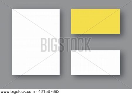 Set Of Two White Realistic Blank Pages With Shadow. Mock Up Template For Your Design. Vector Illustr