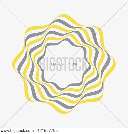 Yellow And Gray Curved Lines Forming A Circular, Abstract Organic Shape. Vector Element For Design.