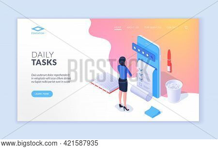 Daily Tasks. Banner Of Isometric Website Design With Woman Using Modern Mobile Application And Putti