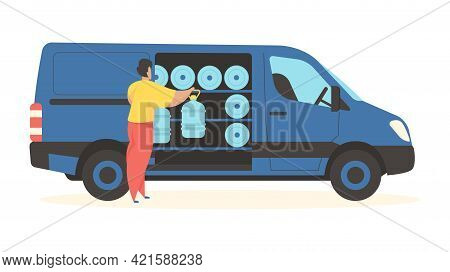 Delivery Bottled Water. Male Character Unloads Plastic Containes From Car. Professional Servicing Of
