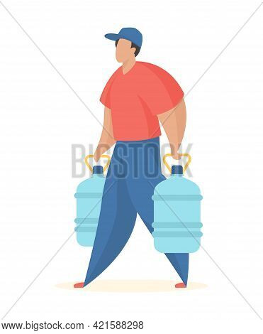 Bottled Water Delivery Customer. Service Worker Carries Full Plastic Bottles Mineral Water. Fast Del
