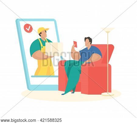 Online Order With Fast Delivery. Male Character Makes Purchase On Smartphone. Convenient Ordering Fr