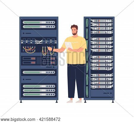 Engineer Repairing Server, Adjusting Network Connection. Sysadmin Maintaining And Fixing Malfunction
