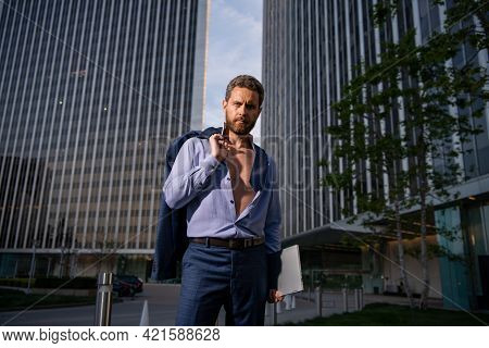 Portrait Of A Handsome Ceo. Excited Businessman In Suit. Young Handsome Man. Confident Sexy Business