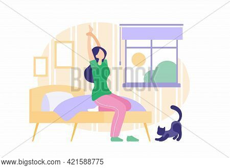 Girl Wakes Up In Morning. Sleepy Young Woman Stretching While Sitting Bed In Pajamas. Morning Sun Sh