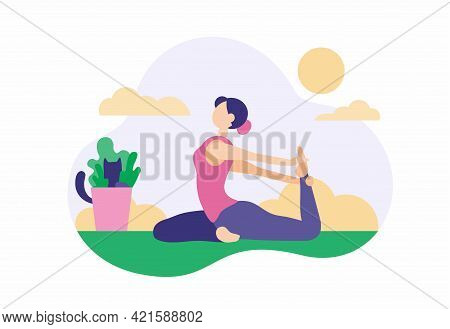 Woman Doing Exercises At Home. Beautiful Girl In Sports Leggings Stretches On Green Carpet With Yoga