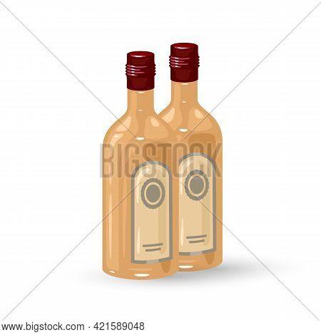 Liquor Bottle, Empty Liquor Bottle On A White Background