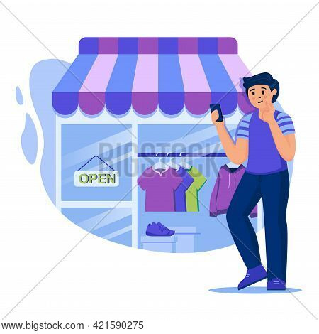 Online Shopping Concept. Man Buys Clothes In Online Store. Buyer Makes Purchases On Shop Webpage Usi