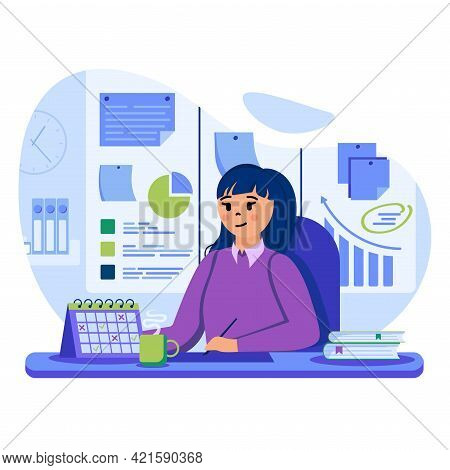 Business Planning Concept. Businesswoman Plan Workflow In Office. Woman Notes Events Or Doing Work T