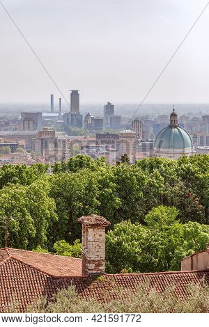View Of The Old Part Of The City With The Dome Of The Cathedral And Downtown Of Brescia City. Lombar