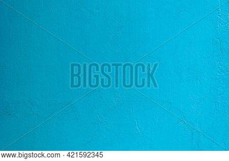 Old Grunge Cracked Blue Wall Background. Rusty Metal With Blue Paint. Blue Texture Of Shabby Paint A