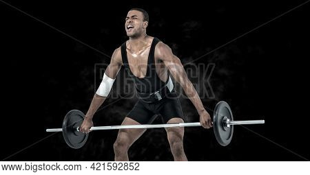 Composition of muscular man exercising with weight bar on black background. sport, fitness and active lifestyle concept digitally generated image.