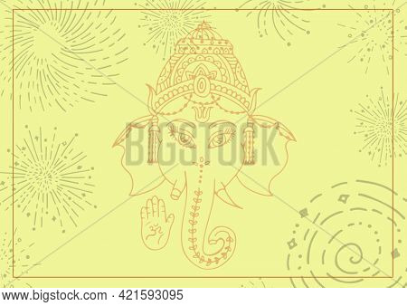 Composition of indian ganesh god design with decorative elements and line frame on yellow background. greetings card or invitation design template concept, digitally generated image.