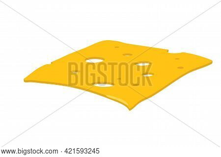 Piece Of Cheese. Overhead View Of Isolated Yellow Colour Square. Toast Cheese Pieces Isolated On Whi