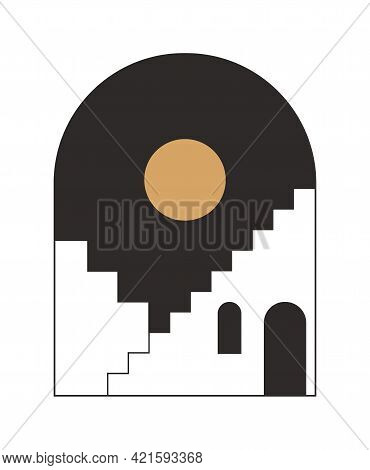 Moroccan Stairs, Arch, Walls, Arc Vector Icon. Architecture Elements Boho
