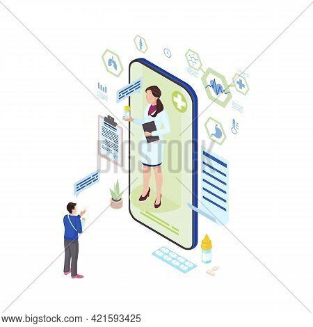 Online Medicine Prescription Isometric Illustration. Ehealth Medical Worker Prescribing Medication F