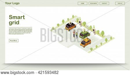 Electric Car Charge Station Webpage Vector Template With Isometric Illustration. Smart Grid. Alterna
