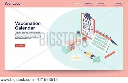 Vaccination Calendar Webpage Vector Template With Isometric Illustration. Flu, Hepatitis Diseases Pr