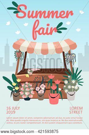 Summer Fair Brochure Template. Street Market, Funfair Stall, Trade Tent Flyer, Booklet, Leaflet Conc